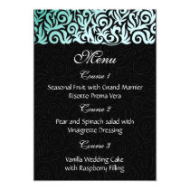 Mint Green and Black Swirling Border Wedding Card