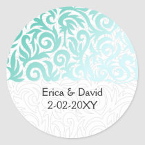 Mint Green and Black Swirling Border Wedding Classic Round Sticker