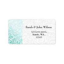 Mint Green and Black Swirling Border Wedding Label