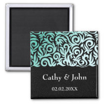 Mint Green and Black Swirling Border Wedding Magnet