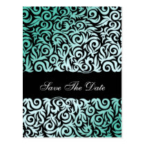 Mint Green and Black Swirling Border Wedding Postcard