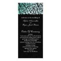Mint Green and Black Swirling Border Wedding Rack Card