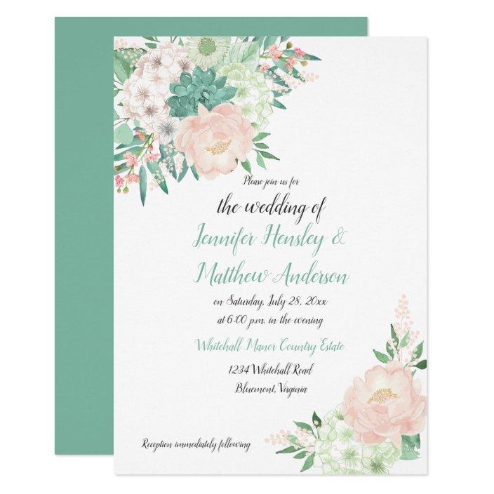 Mint Green And Blush Watercolor Floral Wedding Invitation Zazzle Com