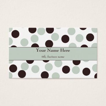 Professional Business Mint Green and Brown Polka Dot Business Card