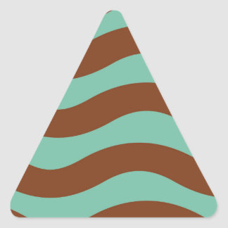 Mint Green and Brown Waves Triangle Sticker
