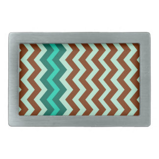 Mint Green and Brown Zigzags Belt Buckle