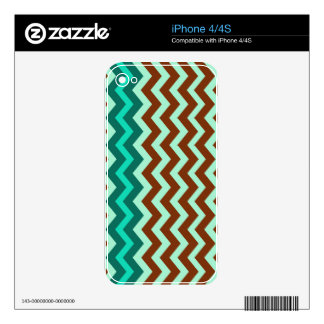 Mint Green and Brown Zigzags Decals For iPhone 4S