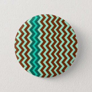 Mint Green and Brown Zigzags Pinback Button
