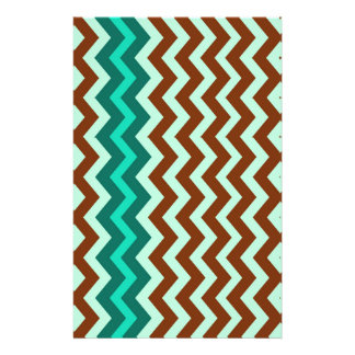 Mint Green and Brown Zigzags Stationery
