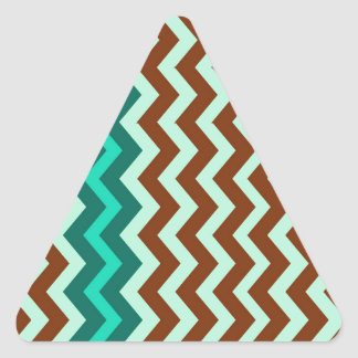 Mint Green and Brown Zigzags Triangle Sticker