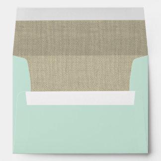Mint Green and Burlap Envelope