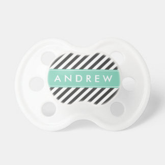 Mint Green and Charcoal Stripes Custom Monogram Pacifier