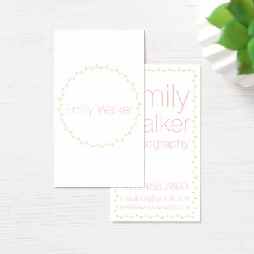 Professional Business Mint Green and Coral Laurel Vine Business Card