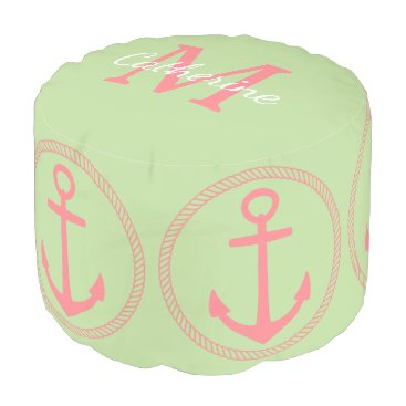 Beach Themed Mint Green and Coral Pink Anchors Monogram Pouf