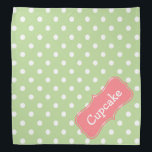 """Mint Green and Coral Pink Polka Dot Personalized Bandana<br><div class=""""desc"""">Cute white polka dots on soft Mint Green with a Coral Pink label that you can personalize with your choice of name or special text.</div>"""