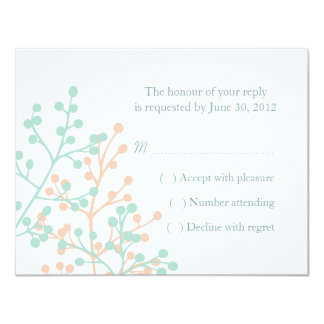Mint Green and Coral Wedding RSVP Reply Cards Personalized Invite