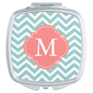 Mint Green and Coral Zigzag Pattern Monogram Makeup Mirror