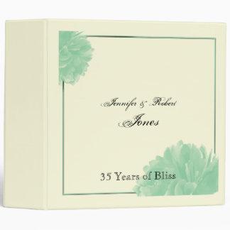 Mint Green and Cream Peony Anniversary Binder