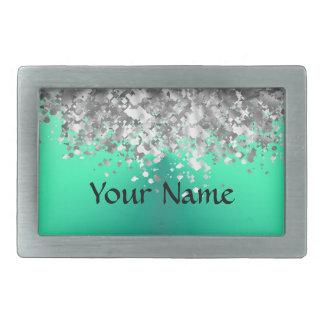 Mint green and faux glitter belt buckle