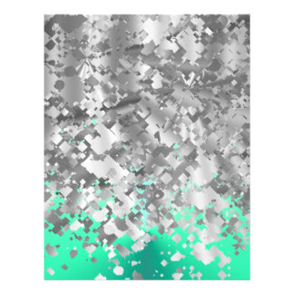 Mint green and faux glitter letterhead