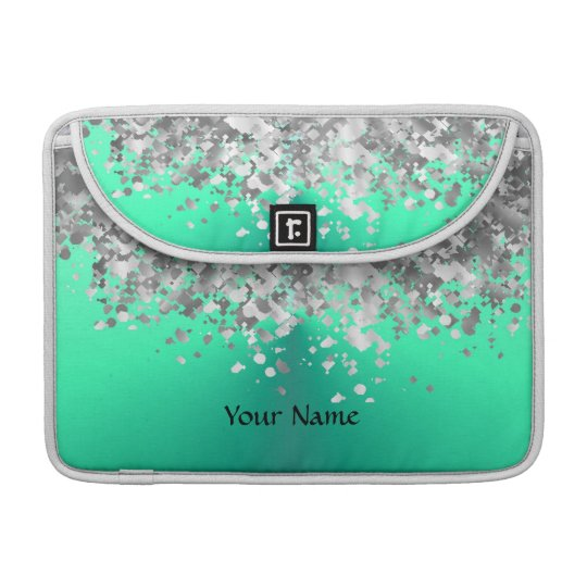 Mint green and faux glitter personalized MacBook pro sleeve