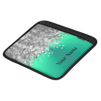 Mint green and faux glitter personalized sleeve for iPads