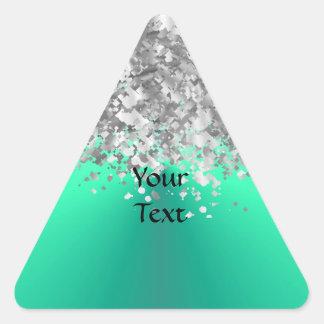 Mint green and faux glitter triangle sticker