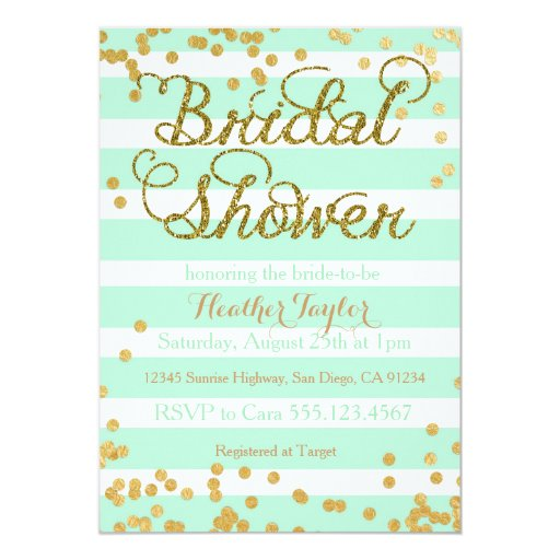 Mint Green And Gold Wedding Invitations with amazing invitation template