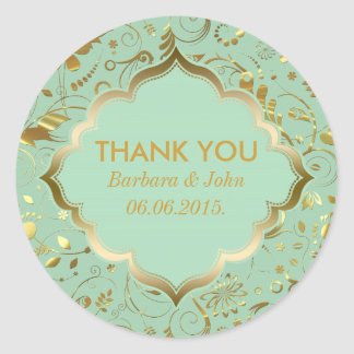Mint Green And Gold Floral Fabric Pattern Classic Round Sticker
