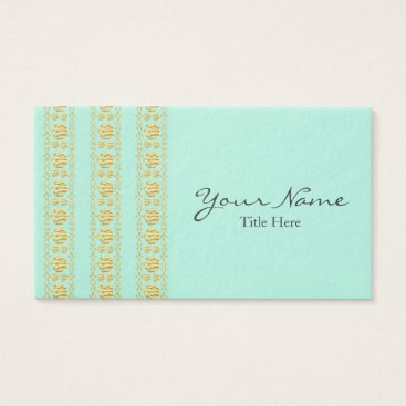 Professional Business Mint Green and Gold Foil Damask Business Card