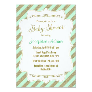 Mint Green and Gold Glitter Baby Shower Invitation