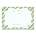 Mint Green and Gold Glitter Thank You Card