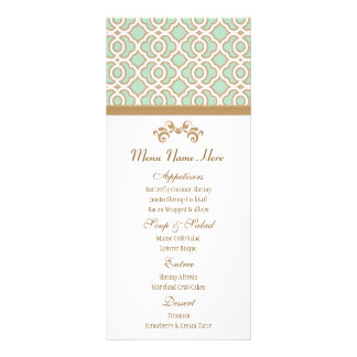 Mint Green and Gold Moroccan Menu Rack Cards