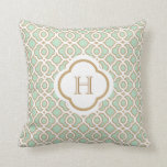 Mint Green and Gold Moroccan Monogram Throw Pillows