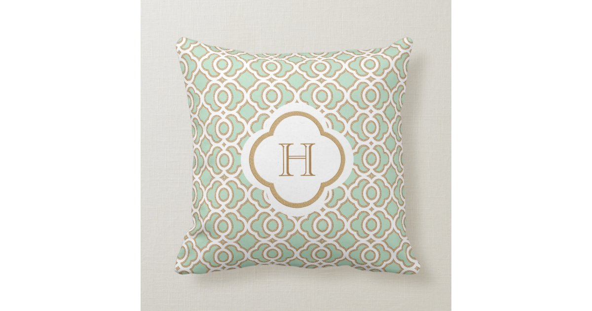 Mint Green And Brown Throw Pillows : Mint Green and Gold Moroccan Monogram Throw Pillow Zazzle