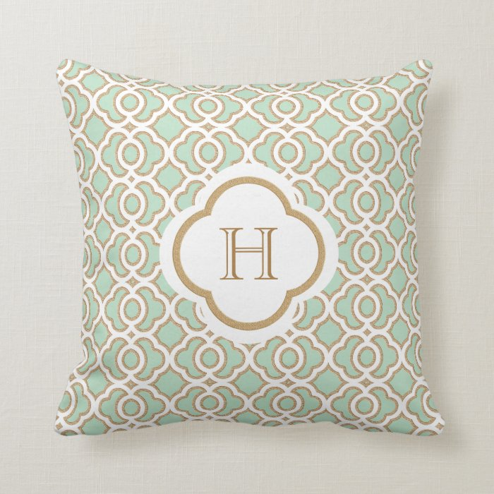 Mint Green and Gold Moroccan Monogram Throw Pillow Zazzle