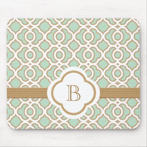 Mint Green and Gold Moroccan Monogrammed Mouse Pad