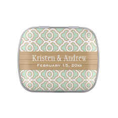 Mint Green And Gold Moroccan Wedding Favor Jelly Belly Tin at Zazzle