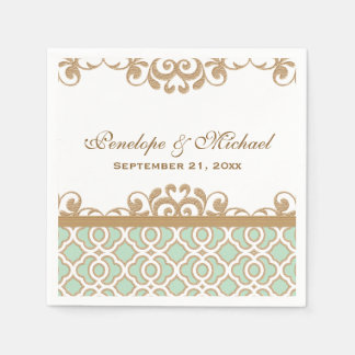Mint Green and Gold Moroccan Wedding Napkin