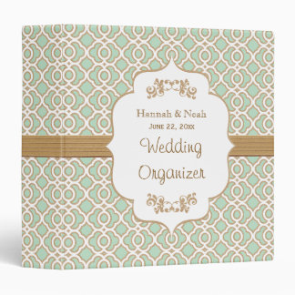 Mint Green and Gold Moroccan Wedding Planner Binder