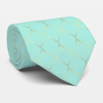 Mint Green and Gold Pattern Neck Tie