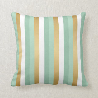 Mint Green and Gold Stripes Throw Pillow