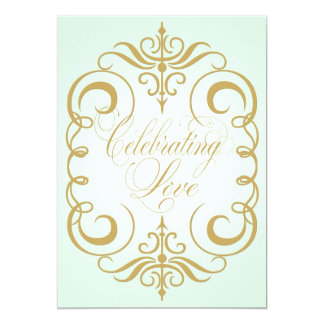 Mint Green and Gold Swirl Wedding Invitation