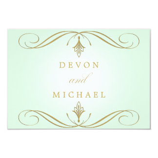 Mint Green and Gold Swirl Wedding Response Cards