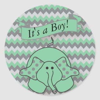 Mint Green and Gray Chevron Baby Elephant Classic Round Sticker