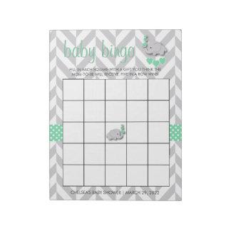 Mint Green and Gray Elephant Baby Shower Bingo Notepad
