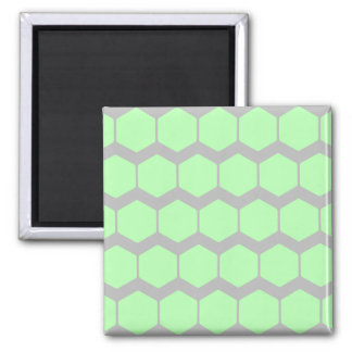 Mint Green and Gray, Retro Geometric Pattern. 2 Inch Square Magnet