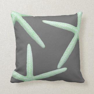 Mint Green and Gray Starfish Coastal Decor Pillow
