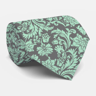 Mint Green And Gray Vintage Floral Damasks Neck Tie