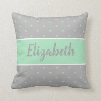Mint green and gray with stars and a name throw pillow